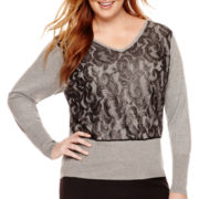 Worthington® Dolman-Sleeve Lace-Front Sweater - Plus