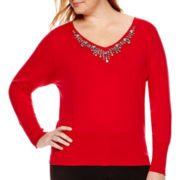 Worthington® Dolman-Sleeve Embellished Sweater - Plus