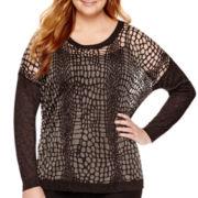 Worthington® Long-Sleeve Burnout Sweater - Plus
