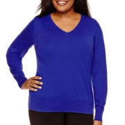 Worthington® Long-Sleeve Essential V-Neck Sweater - Plus