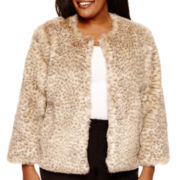 Worthington® Cropped Faux-Fur Jacket - Plus