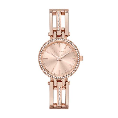 Liz Claiborne® Womens Rose-Gold-Tone Bracelet Watch