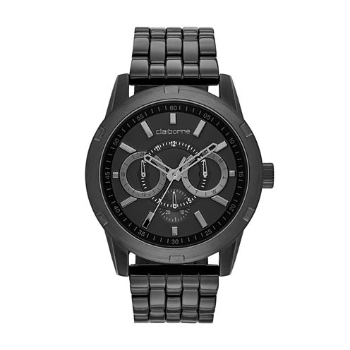 Claiborne® Mens Black Bracelet Watch