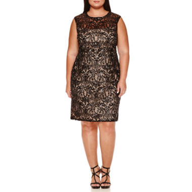 jcpenney.com | Bisou Bisou Sleeveless Sequin Lace Sheath Dress-Plus