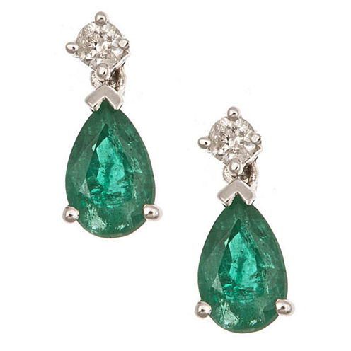 Diamond Accent Green Emerald 14K Gold Drop Earrings