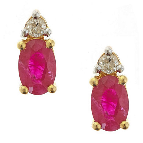 LIMITED QUANTITIES! Red Lead-glass Filled Ruby & Diamond Acvent 10K Yellow Gold Stud Earrings