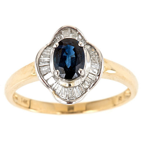 LIMITED QUANTITIES! 1/4 CT. T.W. Blue Sapphire 14K Gold Cocktail Ring