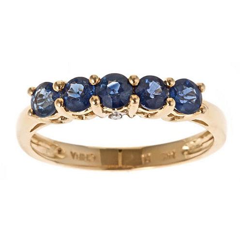 Womens Diamond Accent Blue Sapphire 14K Gold Band