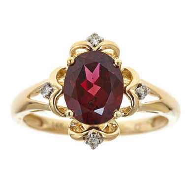 jcpenney.com | LIMITED QUANTITIES! Diamond Accent Red Rhodolite 14K Gold Cocktail Ring