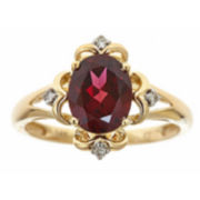 Womens Diamond Accent Red Rhodolite 14K Gold Cocktail Ring