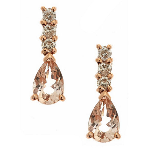 LIMITED QUANTITIES! 1/7 CT. T.W. Pink Morganite 14K Gold Drop Earrings
