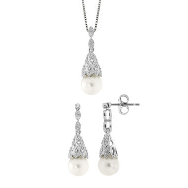 jcpenney.com | Womens 2-pc. Diamond Accent White Pearl Sterling Silver Jewelry Set