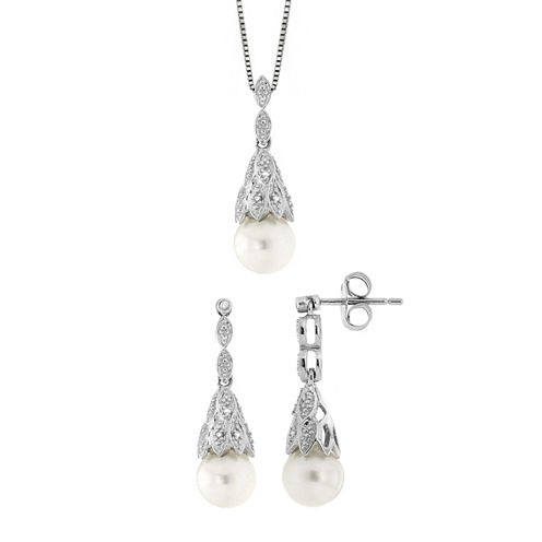 Womens 2-pc. Diamond Accent White Pearl Sterling Silver Jewelry Set