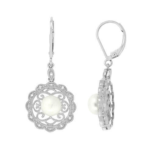 1/10 CT. T.W. White Pearl Sterling Silver Drop Earrings