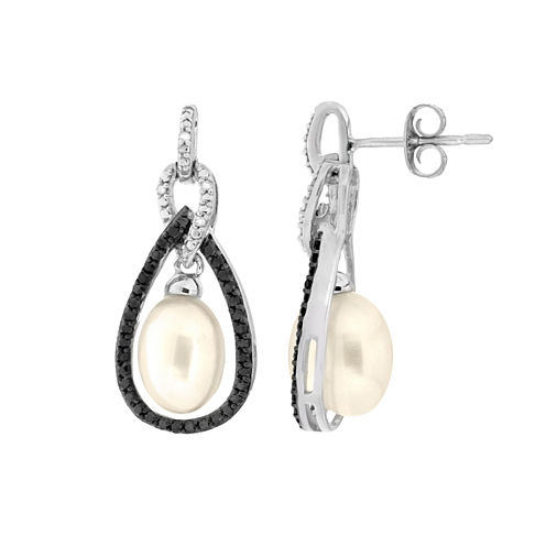 3/8 CT. T.W. White Pearl 14K Gold Drop Earrings