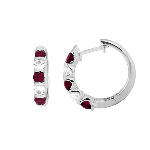Red Lead Glass-Filled Ruby in Sterling Silver Hoop Earrings