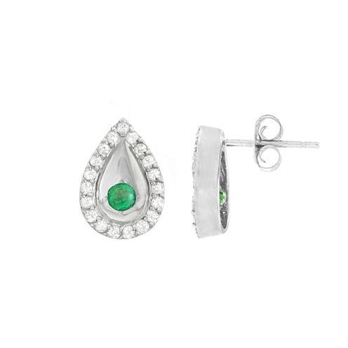 Round Genuine Emerald 10K Gold Stud Earrings