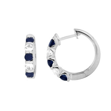 jcpenney.com | Blue Sapphire Sterling Silver Hoop Earrings
