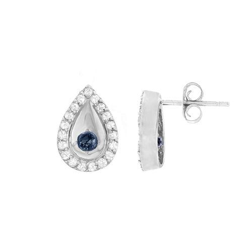 Round Blue Sapphire 10K Gold Stud Earrings
