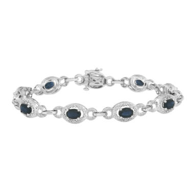 jcpenney.com | Womens 7.25 Inch 1/10 CT. T.W. Blue Sapphire Sterling Silver Link Bracelet