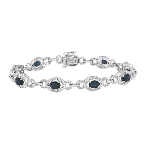 Womens 7.25 Inch 1/10 CT. T.W. Blue Sapphire Sterling Silver Link Bracelet