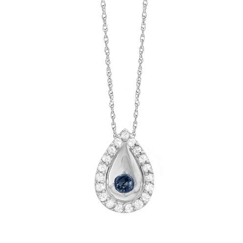 Womens Blue Sapphire 10K Gold Pendant Necklace