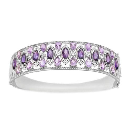 Womens Purple Amethyst Sterling Silver Bangle Bracelet