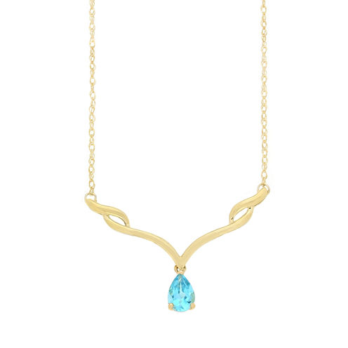 Womens Blue Topaz 10K Gold Collar Necklace