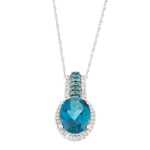 Womens 1/4 CT. T.W. Blue Topaz 10K Gold Pendant Necklace