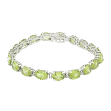 jcpenney.com | Womens 7.25 Inch Diamond Accent Green Peridot Sterling Silver Link Bracelet