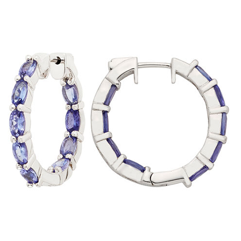 Blue Tanzanite Sterling Silver Hoop Earrings