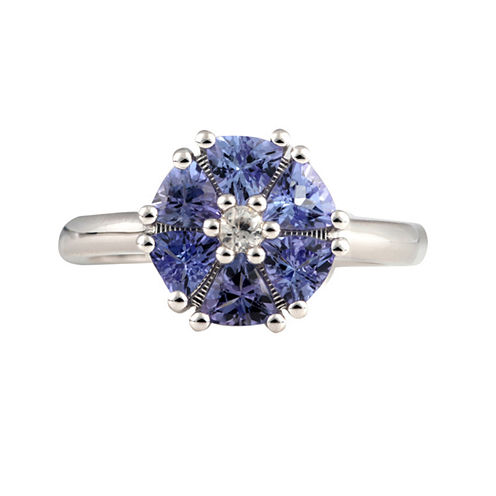 Womens Purple Tanzanite Sterling Silver Halo Ring