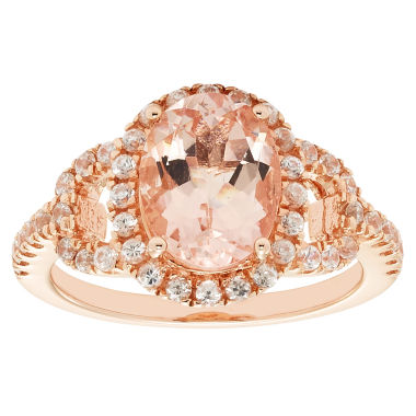jcpenney.com | Womens Pink Morganite Gold Over Silver 3-Stone Ring