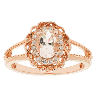 jcpenney.com | Womens Pink Morganite Gold Over Silver Halo Ring
