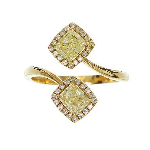 Womens 1 1/2 CT. T.W. Genuine Princess Yellow Diamond 18K Gold Bypass Ring