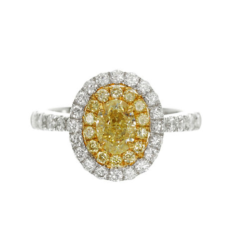 Womens 1 1/2 CT. T.W. Oval Yellow Diamond 18K Gold Engagement Ring