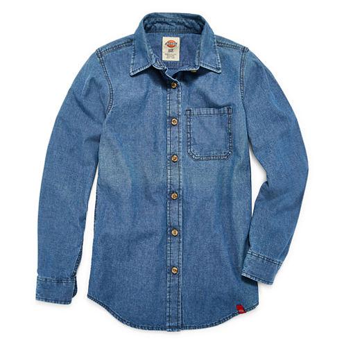 Dickies Long Sleeve Button-Front Shirt Girls