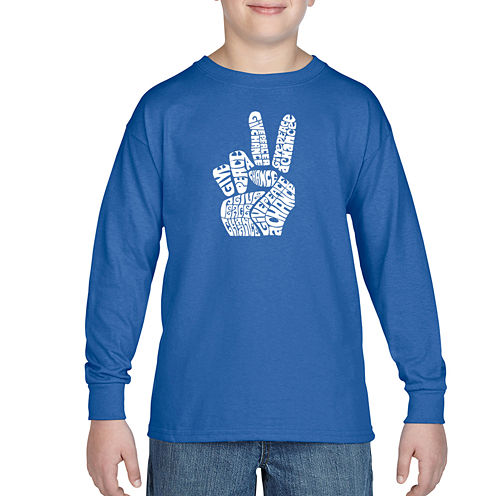 Los Angeles Pop Art CreatedUsing Words Give Peace A Chance Graphic T-Shirt-Big Kid Boys