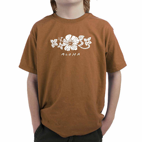 Los Angeles Pop Art The Word Aloha Graphic T-Shirt-Big Kid Boys