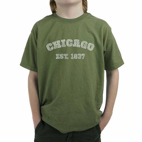 Los Angeles Pop Art The Names Of Chicago Neighborhoods Graphic T-Shirt-Big Kid Boys