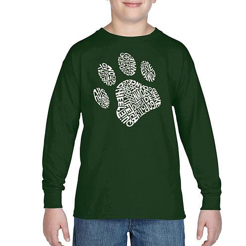 Los Angeles Pop Art Popular Dog Commands And Tricks Graphic T-Shirt-Big Kid Boys