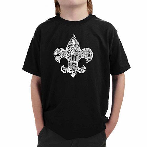 Los Angeles Pop Art Fleur De Lis From 12 Points Of Scout Law Graphic T-Shirt-Big Kid Boys