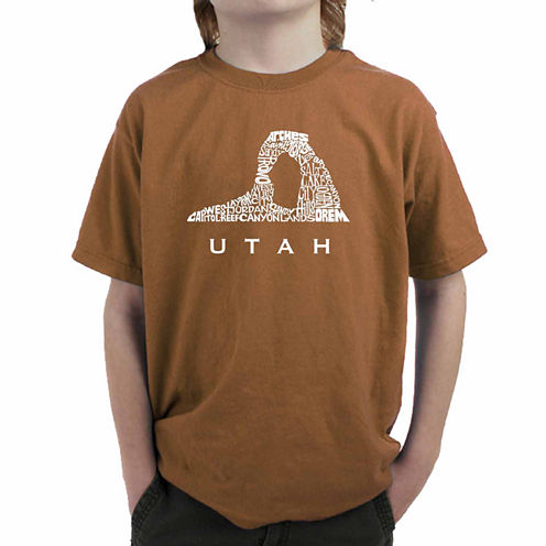 Los Angeles Pop Art Largest Cities And Parks In Utah Graphic T-Shirt-Big Kid Boys