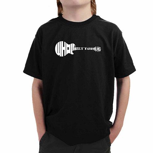 Los Angeles Pop Art Guitar Using Words Whole Lotta Love Graphic T-Shirt-Big Kid Boys