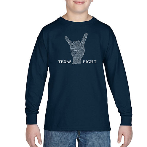 Los Angeles Pop Art Lyrics To Long Horns Fight Song Graphic T-Shirt-Big Kid Boys