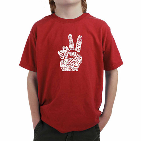 Los Angeles Pop Art Created Using Words Give Peace A Chance Graphic T-Shirt-Big Kid Boys