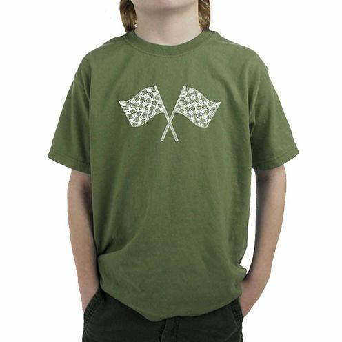 Los Angeles Pop Art Nascar National Series Race Tracks Graphic T-Shirt-Big Kid Boys