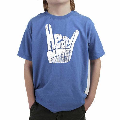 Los Angeles Pop Art Heavy Metal Fingers Words Heavy Metal Graphic T-Shirt-Big Kid Boys