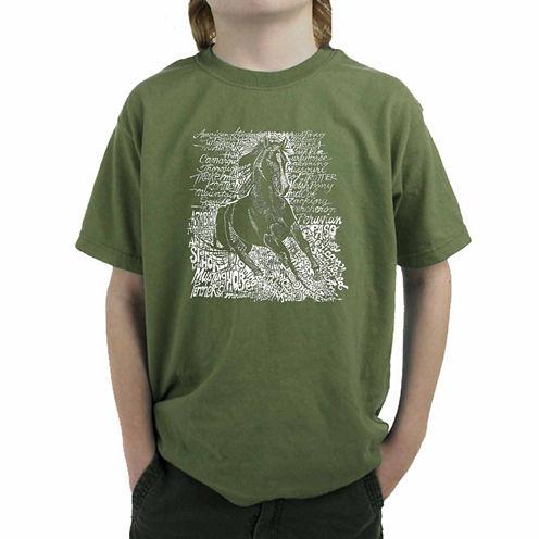 Los Angeles Pop Art Popular Horse Breeds Graphic T-Shirt-Big Kid Boys