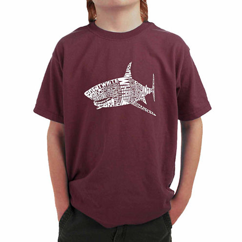 Los Angeles Pop Art Popular Species Of Shark Graphic T-Shirt-Big Kid Boys